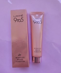 IMG 20180304 134052 251x300 Lakme 9 To 5 Weightless Mousse Foundation Review